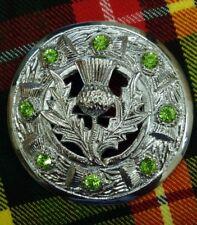 "Kilt Fly Plaid Brooch Thistle Chrome Finish/Ladies Brooches Irish Green Stone 3"""