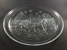 Serving Platter Plate Libbey Holiday Sleigh Glass Clear 12.5 Inch