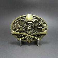 Western Decor Antiqued Bronze Plated Cowboy Skull Belt Buckle