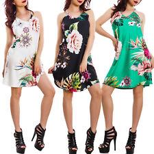 Vestito donna miniabito raso fantasia floreale tropicale elegante sexy VB-1221