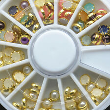 Colorful 3D Acrylic Round Metal Pearl DIY Nail Art Decoration Tips Wheel Jewelry