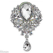 Fabulous Sparkly Crystal Drop Diamante Brooch Pin Wedding Christmas Gift Present