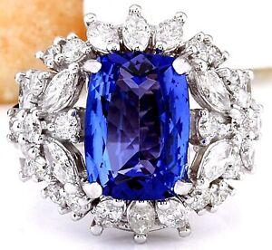 5.35 Carat Natural Tanzanite 14K Solid White Gold Luxury Diamond Ring