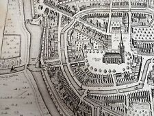 Antique Ancient Town MAP OF FRANEKERA NETHERLANDS 25 X 22 Engraving SUCH DETAIL!