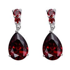 Popular Silver Plated Women Fashion Ruby Gemstone Stud Drop Hoop Earrings Gift