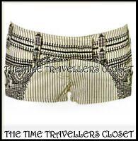 KATE MOSS TOPSHOP Cream Black Embroidered Aztec Pinstripe Shorts Hot Pants UK 8
