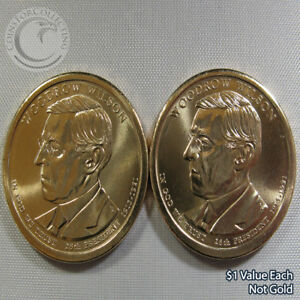 """2013 P&D """"Woodrow Wilson"""" $1 Presidential Dollar Out of Mint Rolls - 2 Coins"""