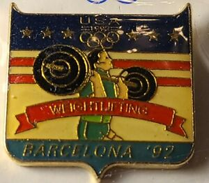Team USA '92 Barcelona Spain Olympic Weightlifting Team Hat Pin. Hand Painted