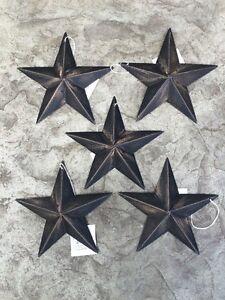 "(Set of 5 ) BLACK BARN STARS 5.5"" PRIMITIVE RUSTIC COUNTRY FARMHOUSE DISTRESSED"