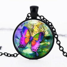 Butterfly Black Dome Glass Cabochon Necklace chain Pendant #63