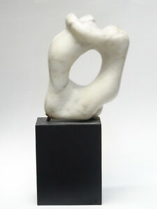 VINTAGE 60's ABSTRACT FORM NUDE LOVERS MARBLE SCULPTURE on WOOD PLINTH
