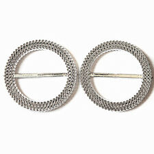 5 Wedding Chair Band Cover Round Plastic Diamante Buckle Ribbon Slider 50mm/65mm