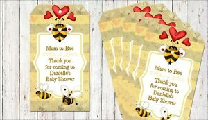 6 Personalised Bumble Bee Baby Shower 'Mum to Bee' Gift Tags & Ribbon