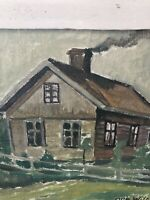 Swedish Listed Artist Olle Wilner Cabin Painting Signed & Dated 1947