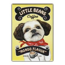 Retro Pets Refrigerator Magnet - Little Beans Coffee, Shih Tzu - Advertising Art