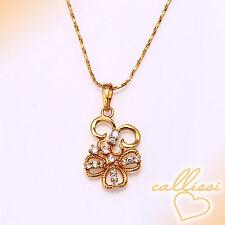 süße Blumen Kette 999er Gold 24K echt vergoldet Dame Schmuck Geschenk Frau Luxus