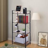 4-Tier Display Wall Shelf Storage Rack Bookcase Wood Metal Ladder Home Furniture