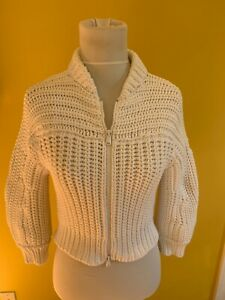 NWT $1325 Brunello Cucinelli size M white cotton cropped cardigan sweater top