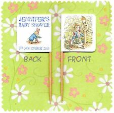 20 PERSONALISED PETER RABBIT BABY SHOWER CUP CAKE FLAG Beatrix Potter Boy Topper