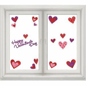 """Happy Valentines"" Window Stickers Mirror Embossed Glitter Heart 16 Decorations"