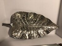 """Decorative Silver Metal Leaf Tray Table Decor Centerpiece Or Wall Art 24"""" X 12"""""""