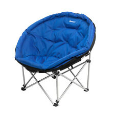 Large Moon Chair Folding Padded Outdoor Patio Indoor Living Room Blue Steel
