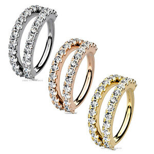 Double Hoop Cartilage Tragus Septum Helix Earring Ring Stud Cuff Body Piercing
