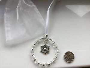 SPARKLY WHITE SNOWFLAKE CRYSTAL BEADED HANGING DECORATION - Christmas Tree Car