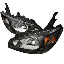04-05 Honda Civic 2/4 EM ES EM JDM Black Headlights w/Amber Reflector EX LX DX