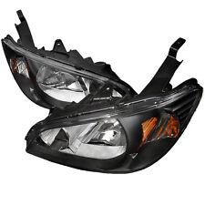 04-05 Honda Civic 2/4 EM ES EM JDM Black Headlights w/Amber Reflector EX LX DX