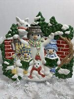 Fritz And Floyd  Christmas Caroling Snowman Family Hanging Decorative Plate