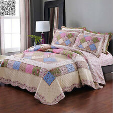 Patchwork Cotton Quilt Bedspread Coverlet Premium Queen King Size Bed Throw Rug
