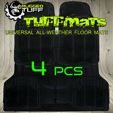 UNIVERSAL RUGGED TUFF 4 PC NEW FLOOR MATS ALL WEATHER HEAVY DUTY BLACK LINERS
