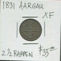 CANTON AARGAU - BEAUTIFUL HISTORICAL BILLON 2 1/2 RAPPEN 1831, KM# 25