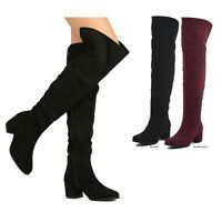 NEW Women Over The Knee Thigh High Boot Chunky Block Med Heel Faux Suede 5.5-10