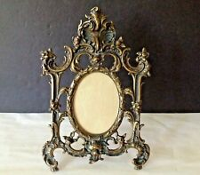 VTG Victorian Ornate Solid Bronze Easel Table Top Picture 13-1/2'' Tall Frame