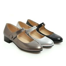 US4-13 Womens Round toe Low Block Heel Buckle Mary Janes Casual Shoes Pumps Plus