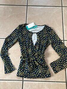 Ladies Bird Print Top from Fever Clothing. Navy/Mustard UK10 RRP £55. BNWT