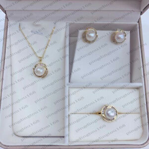 11-12mm natural south sea white baroque pearl pendant+earring+ring 14k gold