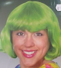 Wig New Short Bob Green Fancy Dress COSPLAY Costume St Patricks Neon 80's