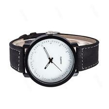 Fashion Lovers Watch Men Women Leather Strap Quartz Analog Wristwatch White MT