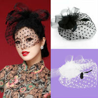 Women Fascinator Feather Hat Mesh Net Elegent Handcraft Hair Clip Bride Veil