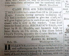 1836 Washington Globe DC newspaper w front pg AD -Wanted to buy:400 NEGRO SLAVES