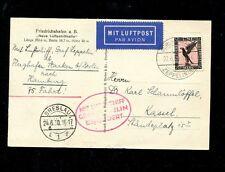 Zeppelin Sieger 69AC Silesia circuit flight  Breslau drop on B/W Zep ppc