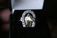 Men's Ring 14k Yellow Horseshoe 3/4 carat total 14 diamonds 8.8 Gm Size 9.5
