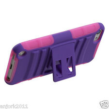 Apple iPod Touch 5 Adv Armor Hybrid Case Skin Cover Stand Accessory Purple/Pink