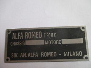 Alfa Romeo Nameplate 8 C 8C Super Sport Plaque Targa
