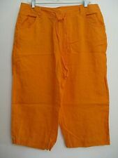Linen cropped capri pants 14W orange mid-rise 5-pocket flat front drawstring JNY