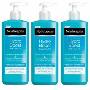 Neutrogena Hydro Boost Body Lotion Gel Erfrischend mit Hyaluron 3 x 400 ml