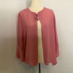 Katies pink open cardigan size 18 lightweight flounce 3/4 sleeve viscose blend